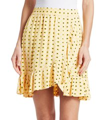 ganni women's printed crepe skirt - maize - size 40 (8)