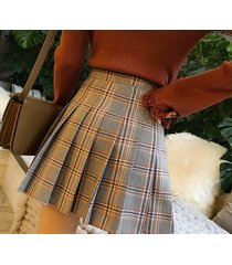 women girl pleated plaid skirt school style pleated plaid skirts- brown, petite
