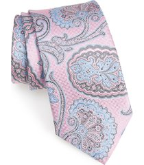 men's nordstrom men's shop paisley silk tie, size regular - pink