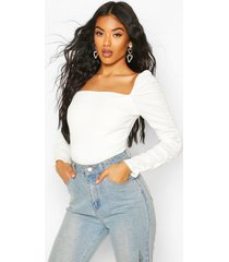 crepe square neck ruched sleeve top, ivory