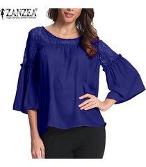 zanzea mujer lace up crochet evening party ladies tops blusa suelta camisa tallas grandes -azul
