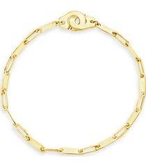 14k goldplated flat-link bracelet