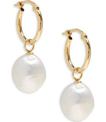 10mm white baroque pearl & 14k yellow gold earrings