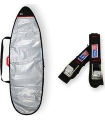 capa prancha surf refletiva acolchoada 6'0 a 6'3 + fita rack 5m - maori extreme
