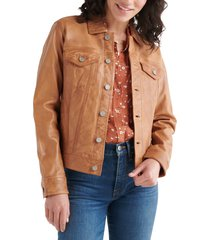 women's lucky brand leather trucker jacket, size x-small - brown