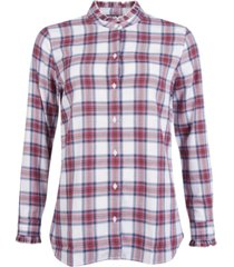 barbour mayapple plaid ruffled-collar button-down shirt
