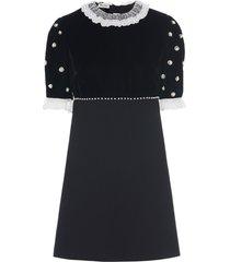 miu miu cady and velvet party dress - black