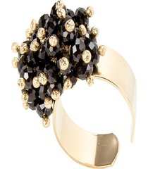 anel kumbayá microesferas móveis semijoia banho de ouro 18k pedra natural quartzo negro
