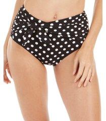 kate spade new york tie-front high-waist polka dot bikini bottoms women's swimsuit