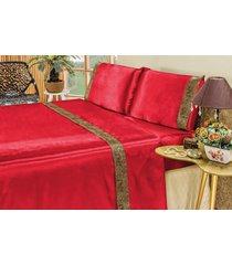 jogo de cama bia enxovais lençol cetim queen safari 04 peças vermelho