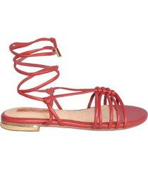 sandalia plana ohio rojo
