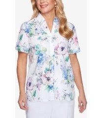alfred dunner floral stripe burnout shirt
