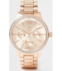 river island womens gold coated round face watch