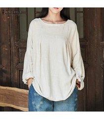 zanzea mujeres otoño breve sólido del cuello de o linterna de lino de algodón de manga camisa floja del tamaño blusa ocasional holgado suéter superior plus off white -beige