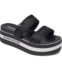 wedge pf sandal twostraps pes shoes summer shoes flat sandals svart calvin klein