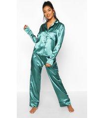 satijnen pyjama set met knopen en biezen, donkergroen