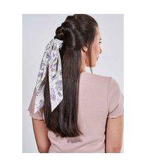 scrunchie floral com nó longo