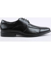 sapato social masculino oneself em couro com cadarço preto