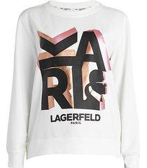 karl lagerfeld paris women's block letter karl sweatshirt - white - size xl
