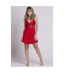 camisola feminina serra e mar modas com bojo em tecido canelado vermelho