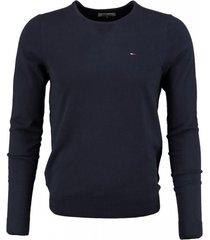 tommy hilfiger korte zachte donkerblauwe stretch trui valt kleiner