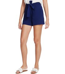 1.state textured crepe belted shorts