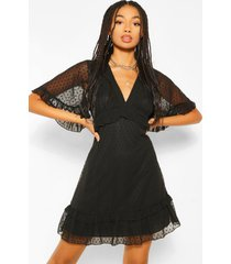 dobby mesh plunge angel sleeve skater dress, black
