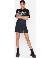 womens grid the right thing check mini skirt - green