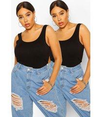 plus basic hemdjes met brede bandjes (2 stuks), zwart
