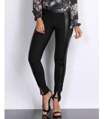 calça couro pks skinny recorte lateral feminina