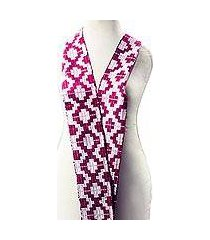 rayon and cotton blend kente scarf, 'mulberry royalty' (4 inch) (ghana)