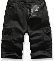 letter patched multi-pocket cargo shorts