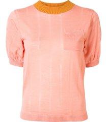lee mathews sheer drop needle knitted top - pink