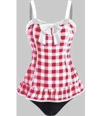 bowknot plaid print ruffled padded tankini swimsuit