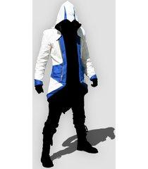 custom handmade assassin's (c kenway) creed 3 white/blue jacket, men fashion
