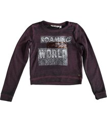 garcia korte sweater met pailletten midnight red