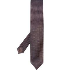 brioni textured pointed tie - brown