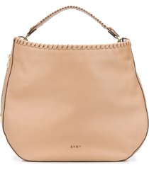 dkny braided-detail hobo tote bag - neutrals