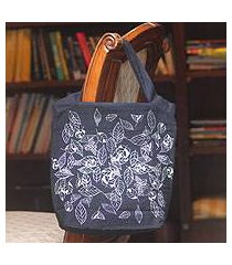 cotton handbag, 'swirling leaves' (thailand)