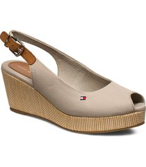 iconic elba sling back wedge sandalette med klack espadrilles beige tommy hilfiger