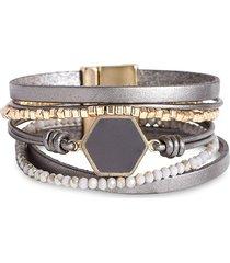 saachi women's hexa resin beaded bracelet - dark grey