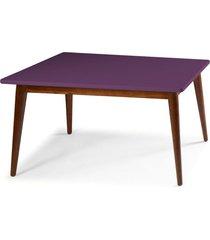 mesa de madeira retangular 180x90 cm novita 609-3 cacau/roxo - maxima