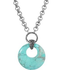 2028 silver-tone turquoise color semi precious round hoop necklace