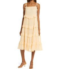 river island tie shoulder tier ruffle cover-up sundress, size small in orange at nordstrom