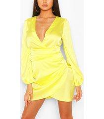 satin wrap detail mini dress, yellow