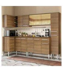 cozinha completa de canto madesa emilly wave com armário vidro reflex, balcão e paneleiro rustic rustic
