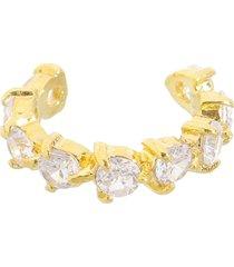 brinco drusi semi joias piercing fake argolinha cristal folheado a ouro 18k