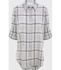 camisa plaid boyfriend gris calvin klein