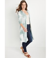 maurices womens light green tie dye duster length cardigan