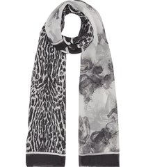 burberry angel and leopard print scarf - black